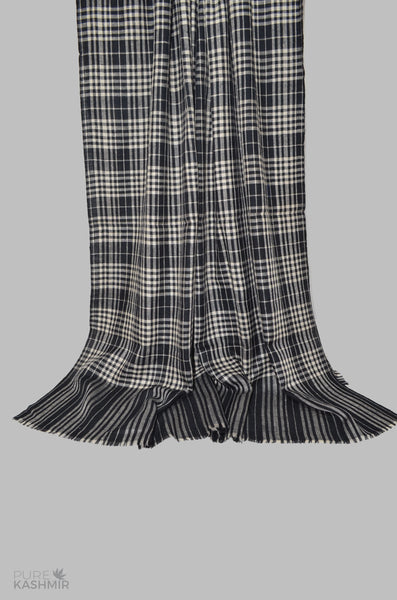 Black and White Check Cashmere Travel Wrap