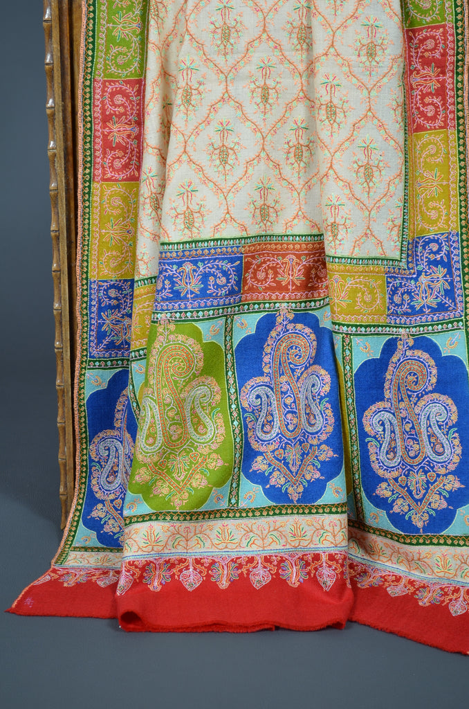 Ivory Jamawar Shawl with colorful borders