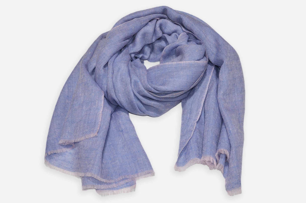Yarn Dyed Blue And Pink Cashmere Pashmina Handwoven Scarf