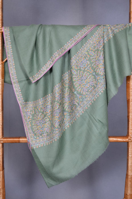 Green Border Embroidery Cashmere Pashmina Shawl