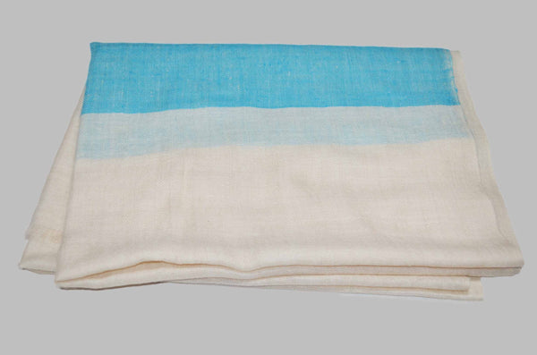 Classic Ivory With Turquoise Border Handwoven Cashmere Pashmina Scarf