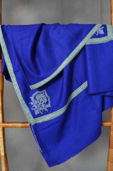Blue Border Embroidery Cashmere Pashmina Shawl