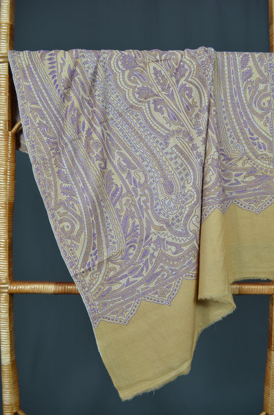 Corn Yellow Jamawar Embroidery Pashmina Scarf