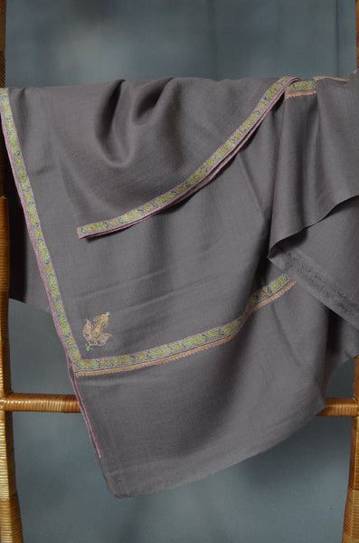 Slate Grey Border Embroidery Cashmere Pashmina Shawl