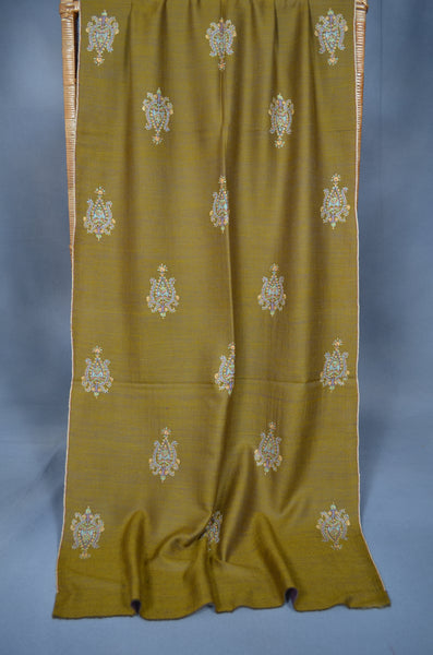 Olive Reversible Motif Embroidery Cashmere Pashmina Scarf