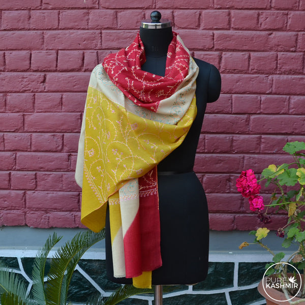 Triple Dyed Kashmir Jali Embroidery Wool Scarf