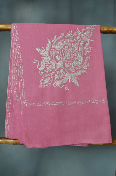 Baby Pink Cone Motif Merino Sozni Hand Embroidery Scarf