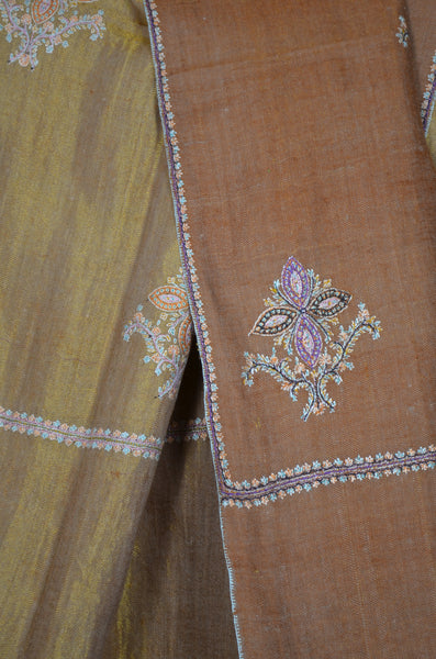 Metallic Gold Reversible Motif Embroidery Pashmina Cashmere Shawl