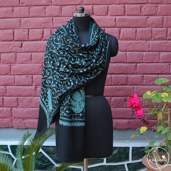 Black Kashmir Sozni Embroidery Wool Scarf