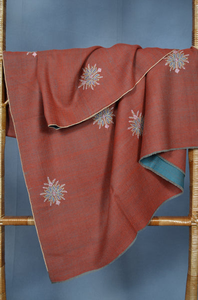 Rust Reversible Motif Embroidery Pashmina Cashmere Shawl