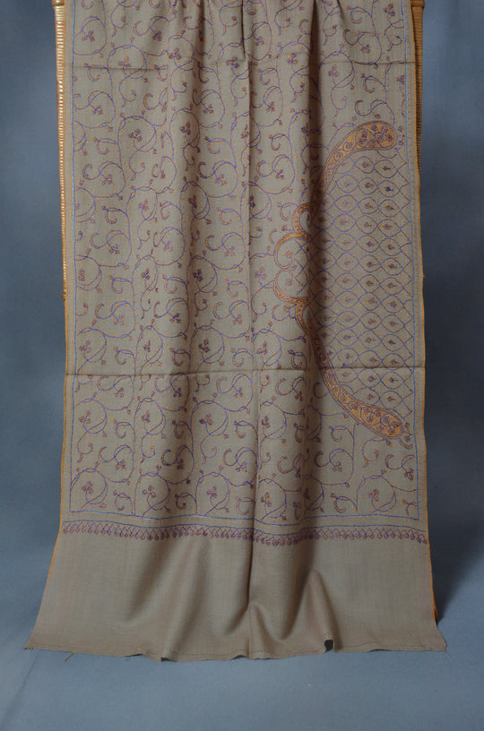 Un Dyed Taupe Jali Merino Sozni Hand Embroidery Scarf