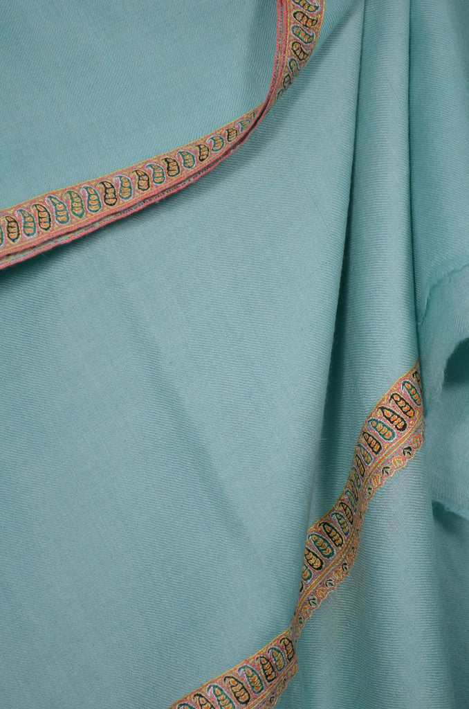 Light Blue Border Embroidery Cashmere Pashmina Shawl