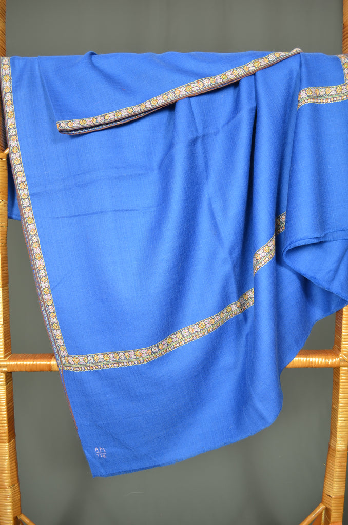 Royal Blue Border Embroidery Cashmere Pashmina Shawl