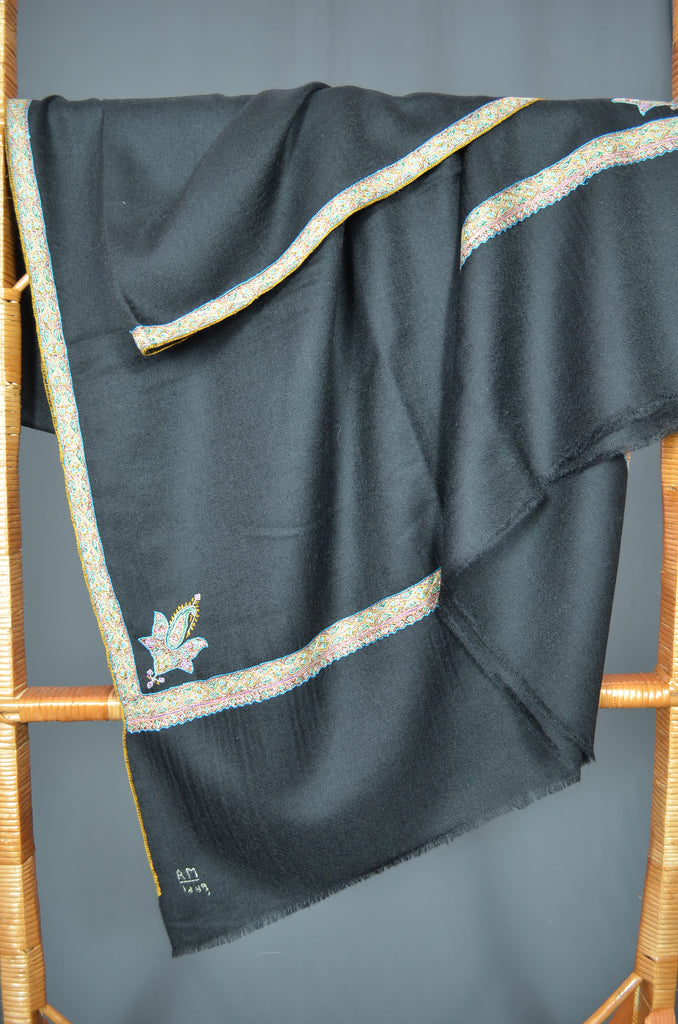 Black Border Embroidery Cashmere Pashmina Shawl