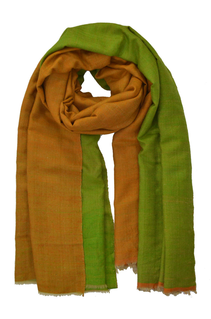 Green Orange Double Sided Pashmina