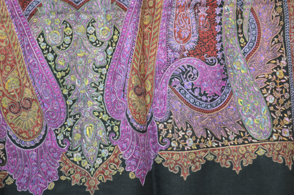 Black Embroidery Pashmina Jamawar Shawl