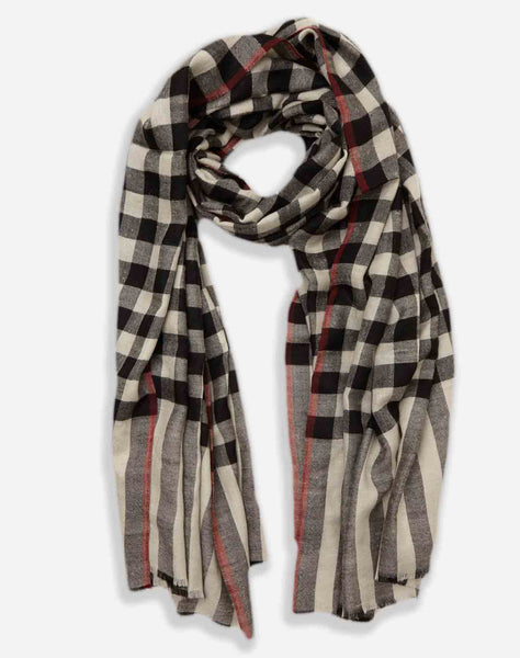 Classic Black and White Handwoven Cashmere Pashmina Scarf