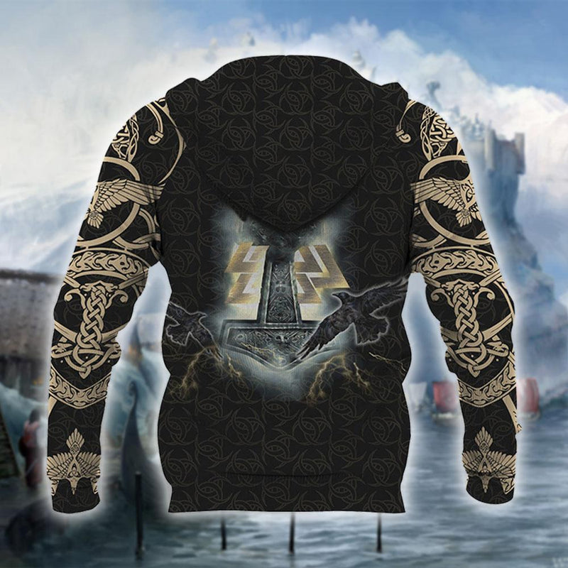 TATTOO VIKER HUGIN™ - Uiterst comfortabele Hoodie in Viking Hugin Tattoo Stijl