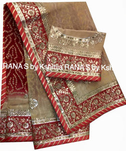 Red Beige Shaded Bandhej Saree