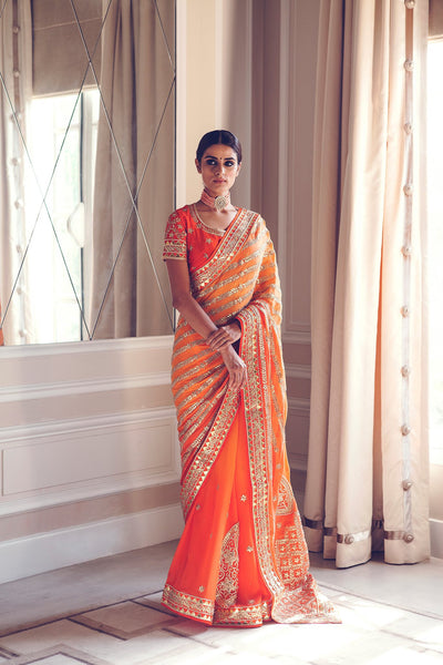 Fascinating orange saree