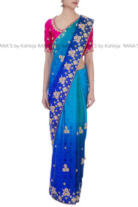 Beautiful Ombre Dyed Zardozi Saree - Rana's by Kshitija