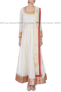Off White Gorgeous Floor Length Kalidar Dress