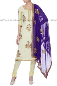 Pale Yellow and Purple salwar suit