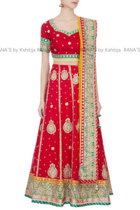 Radiant Red Gota Patti Lehenga Set