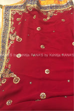Radiant red pure georgette Saree