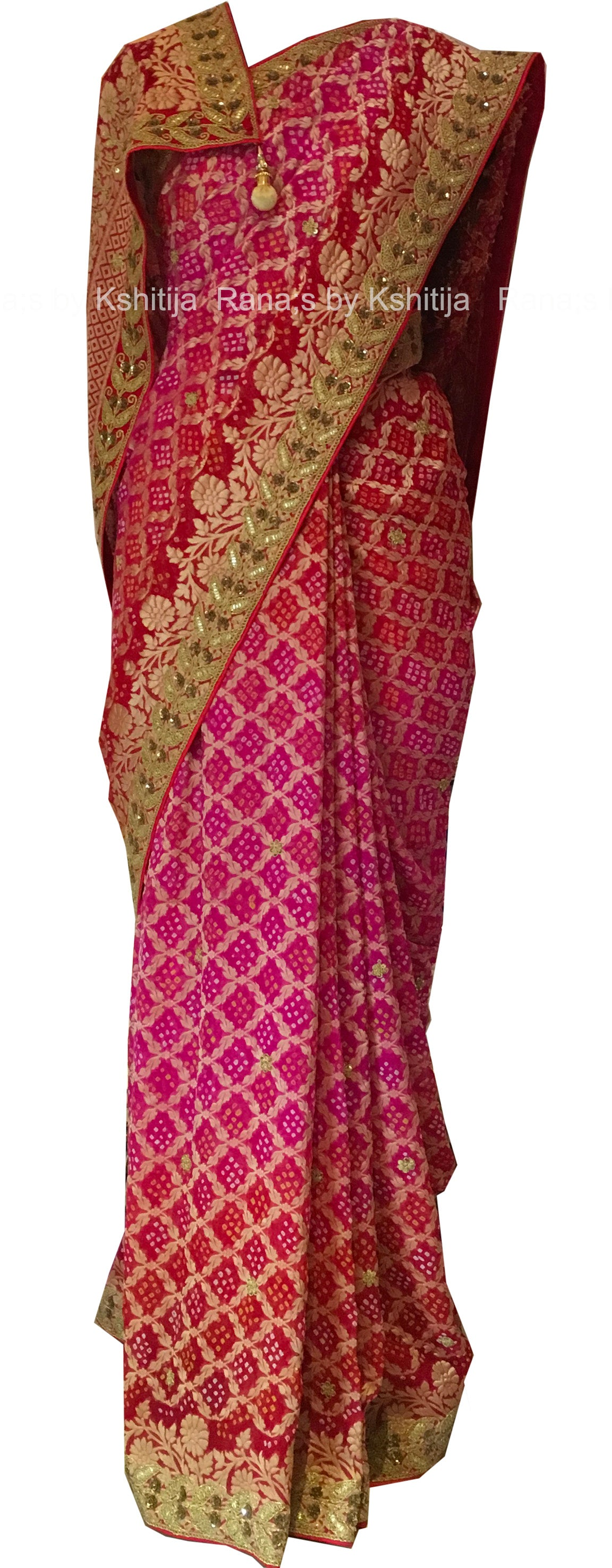 Banarsi Bandhani Saree with Marodi Work