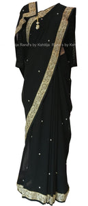 Beautiful Black Pearl Worked Saree