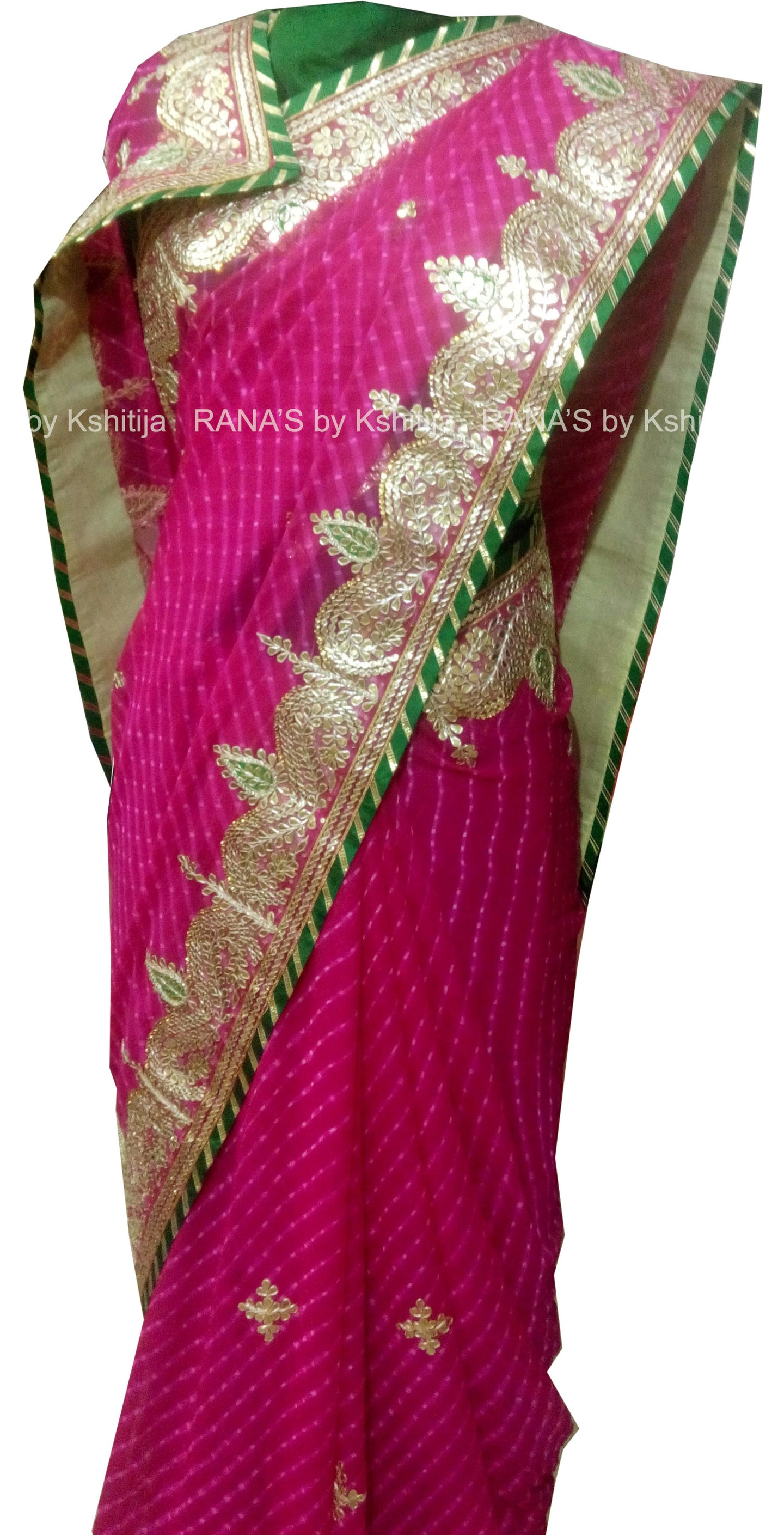 Mothda Leheriya Saree in Finest Gota Work