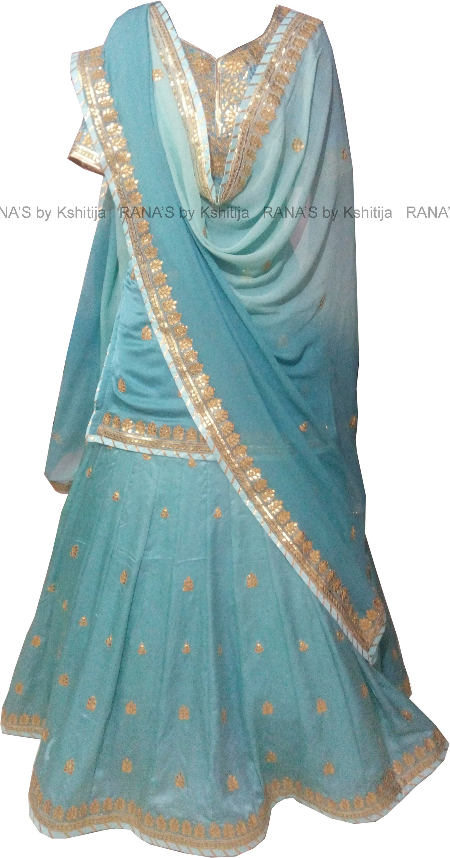 Beautiful Skirt Suit Set in Gold Gota Work