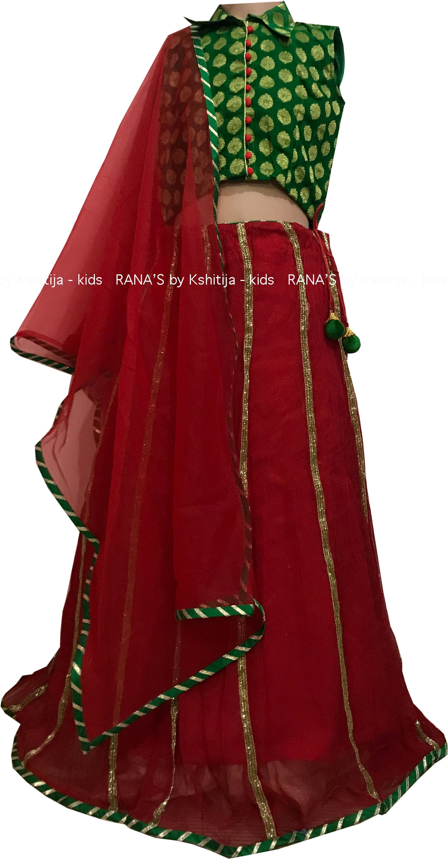Beautiful red and green kids wear lehenga
