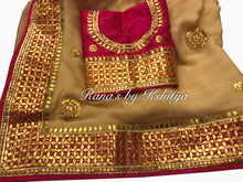 Beige Chiffon Saree in Gota Barfi Work