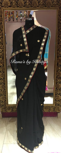 Black and Red Pure Georgette Designer Saree - Rana's by Kshitija
