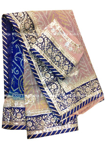 Blue Beige Shaded Bandhej Saree