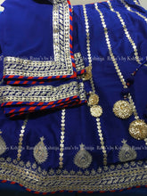 Rich Blue Marodi Handworked Lehenga Set