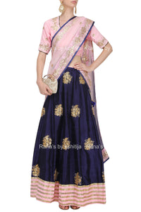 Deep Blue and Pink Rich Lehenga Set