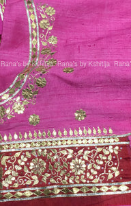 Cherry Brown Fine Gota Handwork Saree