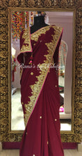 Coke Brown Gota Zardozi Pure Georgette Saree