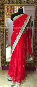 Delciate Red Leheriya Saree in Fine Gota Work
