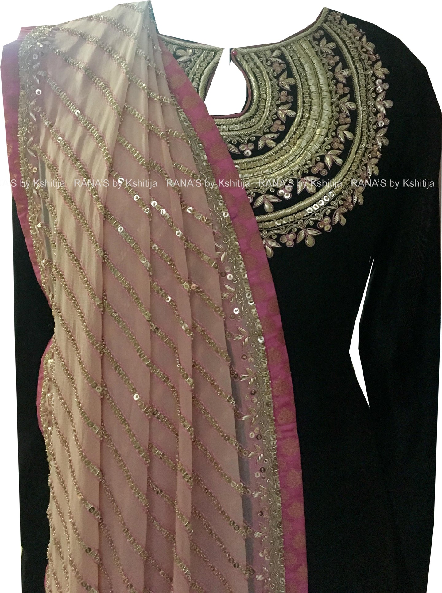 Designer Black and Pink Salwar Suit