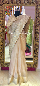 Designer Gota Jaal Saree in Chikoo Color in Pure Organza
