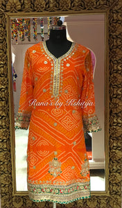Designer Orange Bandhani Suit in Rich Handwork - Rana's by Kshitija