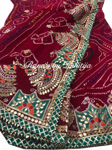 Designer Red Bandhej Saree with Resham and Gota Handwork