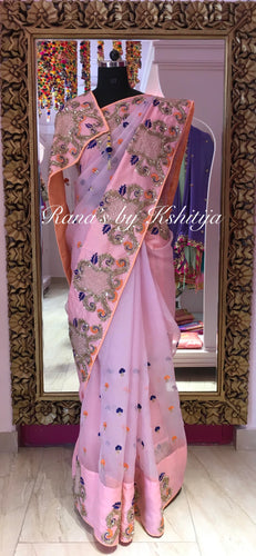 Designer Saree in Pretty Pink Pure Organza