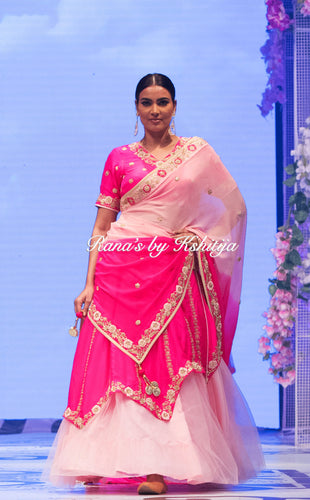 Double Layered Pure Silk and Georgette Lehenga Set - Rana's by Kshitija
