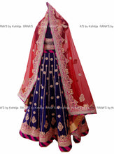 Electric Blue Peacock Design Lehenga - Rana's by Kshitija