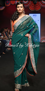 Emerald Green Pure Georgette Saree - Rana's by Kshitija